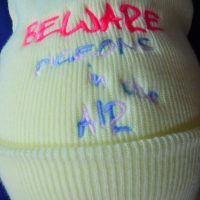 Yellow Beanie Hat with Beware