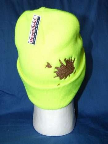 Yellow Beanie Hat with Splat
